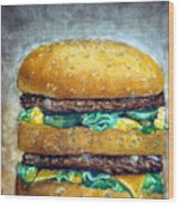 Double Burger To Go Wood Print