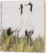 Double Crane Wood Print
