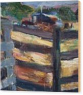 Double Fenced Corral Wood Print