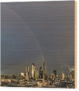 Double Rainbow Over The City Of London Wood Print