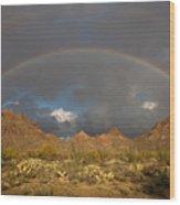 Double Rainbow Tucson Arizona Wood Print