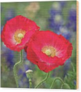 Double Take-two Red Poppies. Wood Print