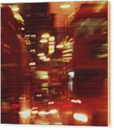 Doubledecker Bus Blur London Wood Print