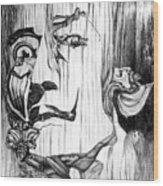 Doubly reversible portrait of Salvador Dali Wood Print