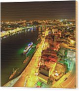Douro River Skyline Night Wood Print