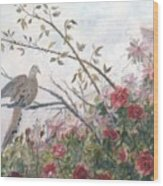 Dove And Roses Wood Print