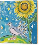 Dove And Sunflower Wood Print