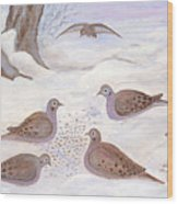 Doves In New York - Winter Wood Print by Anna Folkartanna Maciejewska-Dyba