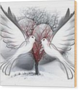 Doves Of Peace Wood Print