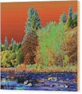 Down Along The Spokane River Wood Print