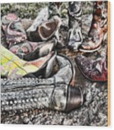 Down Boots Up Boots Wood Print