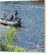 Down River Fly Fishing Wood Print
