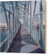 Down The Bridge Wood Print