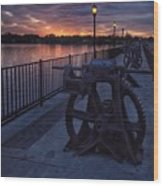 Down The Overholser Dam Wood Print