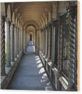 Down The Portico At The Franciscan Monastery In Washington Dc With Digital Effects Wood Print