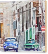 Down The Street Wood Print