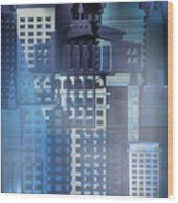 Downtown Abstract - Blue Mist Wood Print