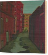 Downtown Alley-portland Maine Wood Print