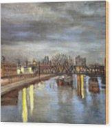Downtown Bridge Wood Print