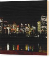 Downtown Calgary At Night Wood Print