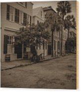 Vintage Downtown Charleston South Carolina Wood Print