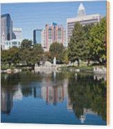 Downtown Charlotte North Carolina From Marshall Park Wood Print
