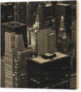 Downtown Chicago At Sunset Wood Print