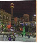 Downtown Christmas Wood Print
