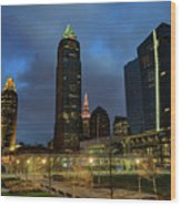 Downtown Cleveland At Dusk Wood Print