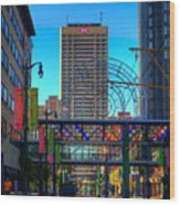 Downtown Color Wood Print