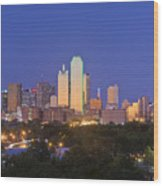 Downtown Dallas Skyline At Dusk Wood Print