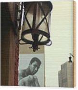 Downtown Detroit Light Fixture With Muhammad Ali Billboard Wood Print