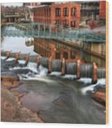 Downtown Greenville On The River Winter Wood Print