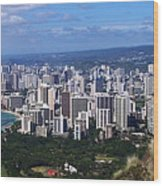 Downtown Honolulu  Wood Print