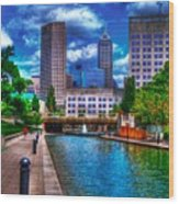 Downtown Indianapolis Canal Wood Print