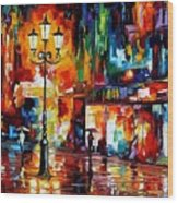 Downtown Lights Wood Print