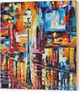 Downtown Lights - Palette Knife Oil Painting On Canvas By Leonid Afremov Wood Print