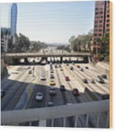 Downtown Los Angeles. 110 Freeway And Wilshire Bl Wood Print