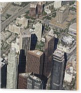 Downtown Los Angeles From Above Wood Print