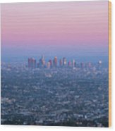 Downtown Los Angeles Skyline At Sunset Wood Print