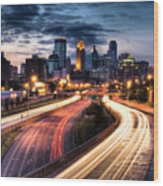 Downtown Minneapolis Skyscrapers Wood Print by Greg Benz