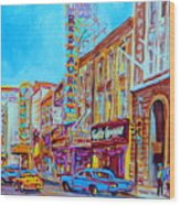 Downtown Montreal Street Rue Ste Catherine Vintage City Street With Shops And Stores Carole Spandau  Wood Print