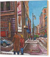 Downtown Montreal Streetscene At La Senza Wood Print