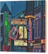 Downtown Nashville At Dusk Wood Print
