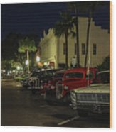 Downtown Old Cars Wood Print