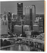 Downtown Pittsburgh At Twilight - Black And White Wood Print