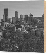 Downtown Pittsburgh In Black And White Wood Print