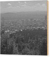 Downtown Portland Black And White Wood Print