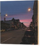 Downtown Racine At Dusk Wood Print