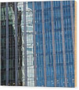 Downtown Reflection Wood Print